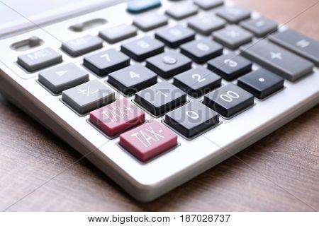 Tax concept. Modern calculator, closeup