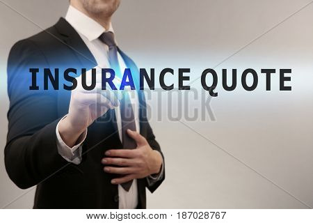 Insurance quote concept. Man working with virtual screen