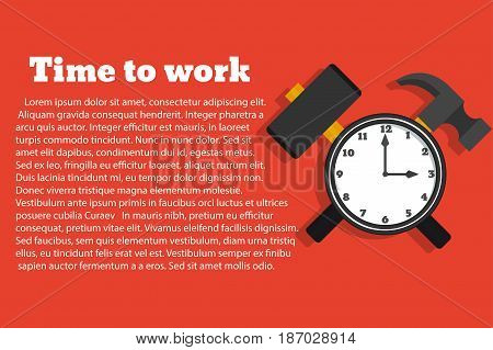 Time to work. Vector illustration in a flat style