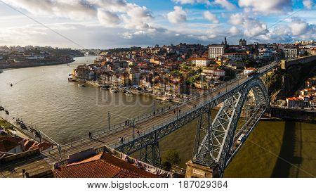 Porto Portugal - March 6 2016 : Ponte d`Luís on the River Douro to join the cities of Vila Nova de Gaia and Porto Portugal