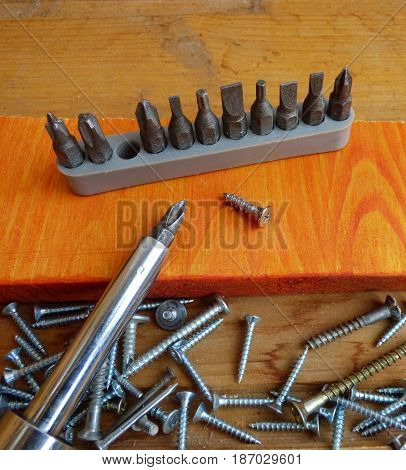 Screws, screwdriver and set of bits (heads). With one fallen screw in the center on wood surface. Home improvement tools and fasteners. Selected focus on central screw.