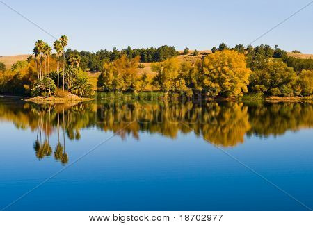 Reflection in the water in Napa Valley