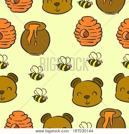Collection bear and honey pattern style vector art