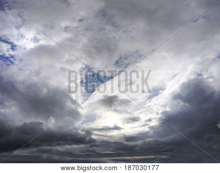 Gloomy sky with storm clouds in autumn