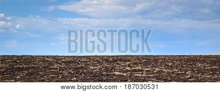A wide field of fertile land under a beautiful blue sky no one around