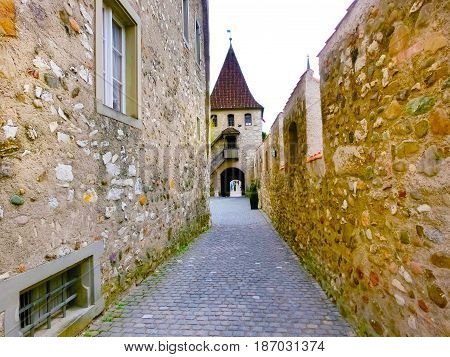 Schaffhausen, Switzerland - The view on castle Schloss Laufen patio, tower. Castle on Rhainfall waterfall biggest in Europe. Swiss holidays vacations famous sightseeing tours
