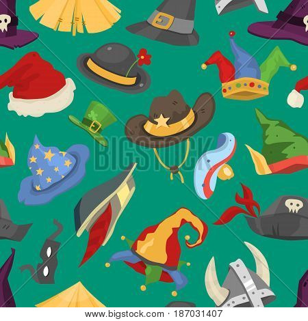 Different funny holiday carnival hats for party and masquerade celebration traditional vector illustration. Funny caps for party, holidays. Traditional headwear background seamless pattern