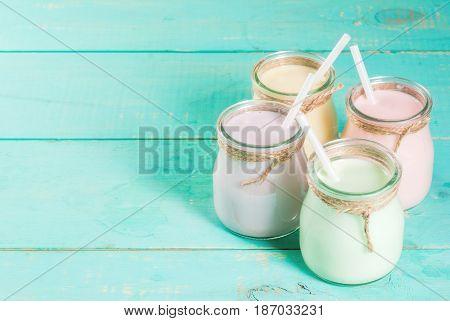 Small Jars With Smoothie Or Milkshake