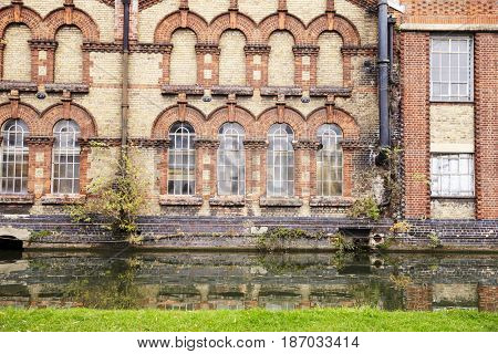 OXFORD/ UK- OCTOBER 26 2016: Exterior Of Victorian Factory By Canal In Oxford