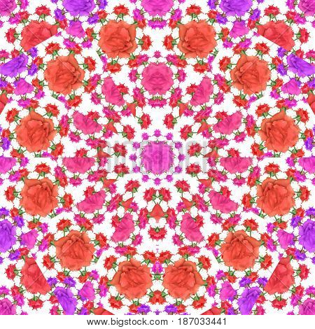 Multicolored Flowers Collage Seamless Pattern