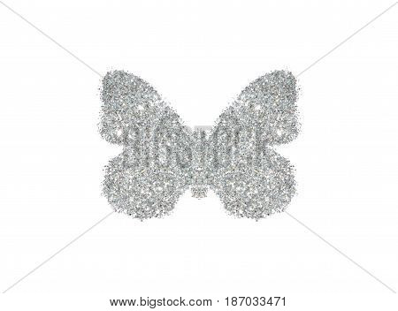 Butterfly of silver glitter on white background, icon for your design
