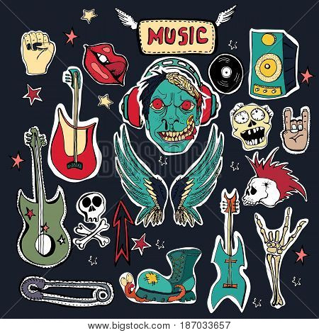 Cute embroidery patches and stickers collection. Vector hand drawn badges. Zombies in headphones rock and roll symbols punks skulls skeleton lips guitars boots worm.