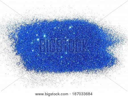 Blue glitter sparkles on white background. Can be used as place for text, for greeting or invitation cards, fashion magazines, web sites etc.