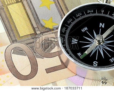Compass currency finance direction euro european union currency fifty euro banknote