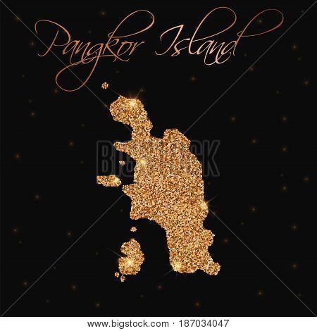Pangkor Island Map Filled With Golden Glitter. Luxurious Design Element, Vector Illustration.