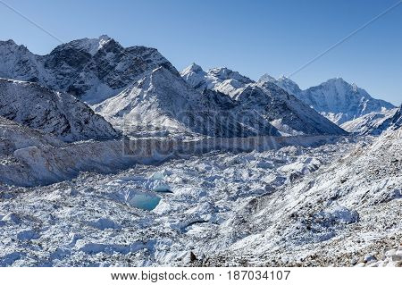 Khumbu Glacier Near Everest Base Camp, Himalayas, Nepal. Beautiful Landscape Of A White Snowy Mounta