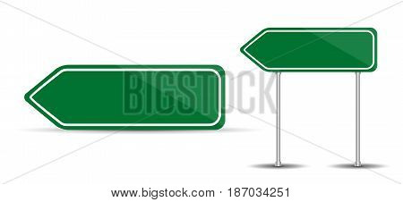 Road Sign Isolated on White Background Blank green arrow traffic. Vector Illustration. EPS10