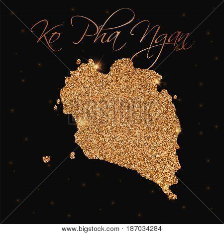 Ko Pha Ngan Map Filled With Golden Glitter. Luxurious Design Element, Vector Illustration.