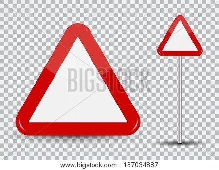 Warning Road Sign on transparent background Red Triangle. Vector Illustration. EPS10