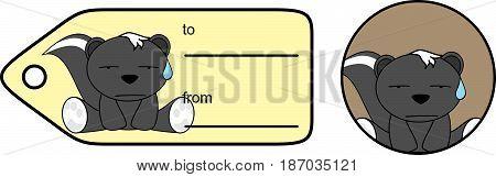 sad little skunk cartoon gift card in vector format