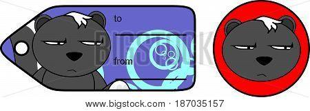 grumpy little skunk cartoon gift card in vector format