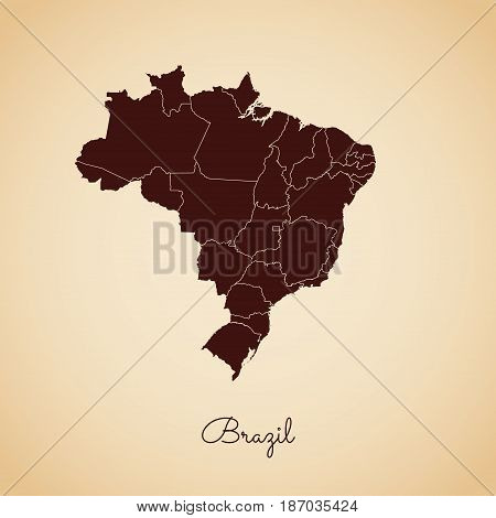 Brazil Region Map: Retro Style Brown Outline On Old Paper Background. Detailed Map Of Brazil Regions