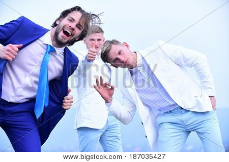 Happy Man And Twins Guys In Outfit, Agile Business, Success