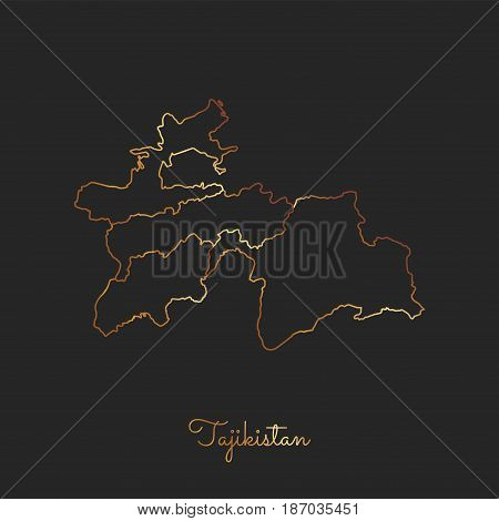 Tajikistan Region Map: Golden Gradient Outline On Dark Background. Detailed Map Of Tajikistan Region