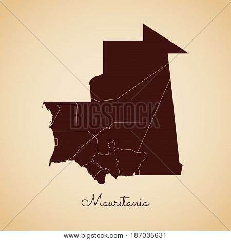 Mauritania Region Map: Retro Style Brown Outline On Old Paper Background. Detailed Map Of Mauritania