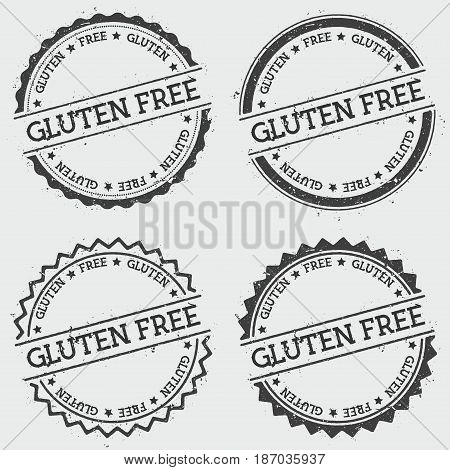 Gluten Free Insignia Stamp Isolated On White Background. Grunge Round Hipster Seal With Text, Ink Te