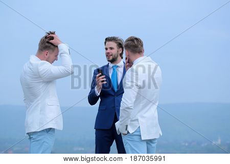 Business People Discussion, Communication And Meeting, Men With Phone