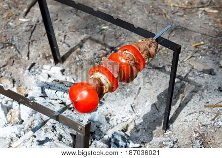 Pork cooked on the grill. Meat cooked on the coals. Pork being prepared fire. Pork kebab. Meat with onions and vegetables on the fire. Fresh meat. Skewers on the fire in the forest.