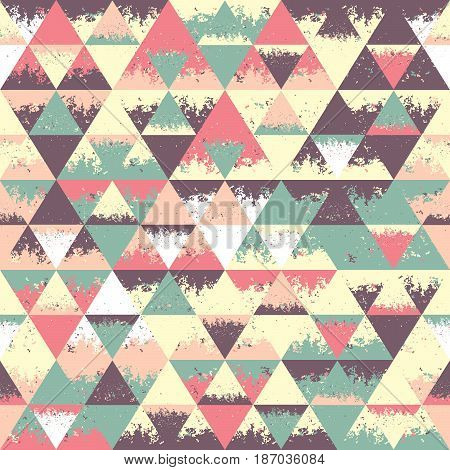 Grunge seamless pattern with cracked rhombuses and triangle.