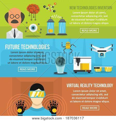 Future tech banner horizontal concept set. Flat illustration of 3 future tech vector banner horizontal concepts for web