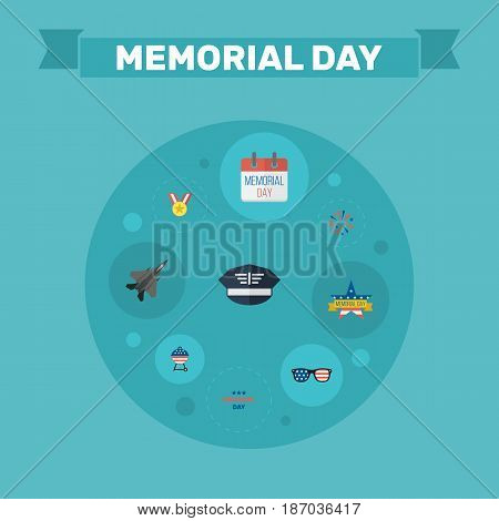 Flat Aircraft, Memorial Day, Holiday And Other Vector Elements. Set Of Memorial Flat Symbols Also Includes Memorial, Firework, Medal Objects.