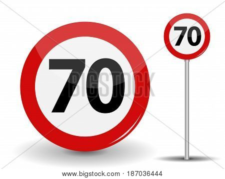 Round Red Road Sign Speed limit 70 kilometers per hour. Vector Illustration. EPS10