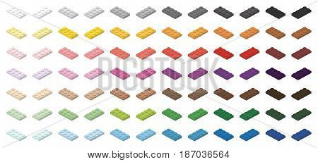 Children brick toy simple colorful bricks 4x2 low, isolated on white background