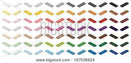 Children brick toy simple colorful bricks 6x2 low, isolated on white background
