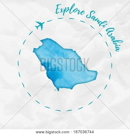 Saudi Arabia Watercolor Map In Turquoise Colors. Explore Saudi Arabia Poster With Airplane Trace And