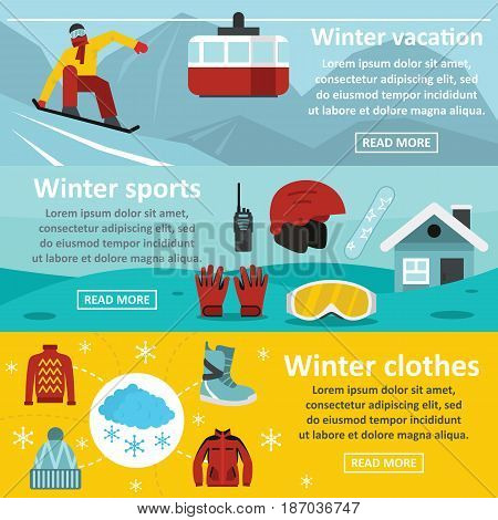 Winter sport banner horizontal concept set. Flat illustration of 3 winter sport vector banner horizontal concepts for web