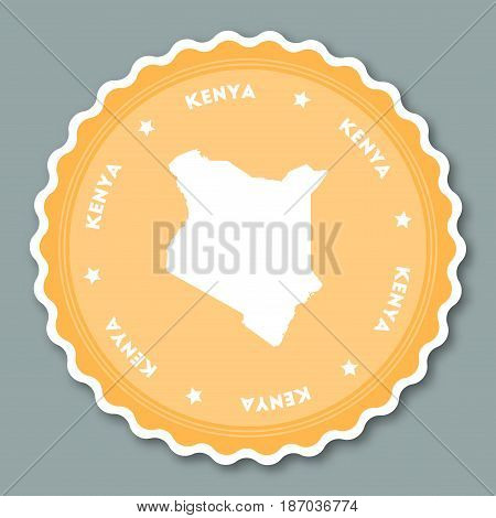 Kenya Sticker Flat Design. Round Flat Style Badges Of Trendy Colors With Country Map And Name. Count