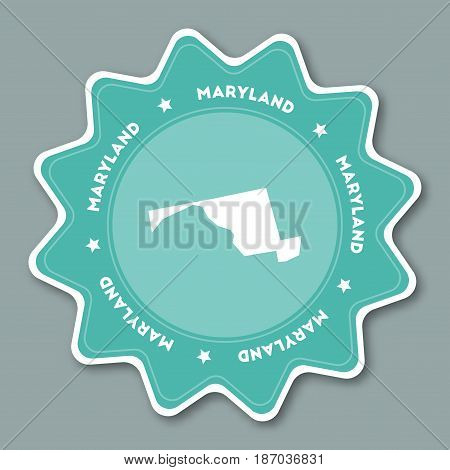 Maryland Map Sticker In Trendy Colors. Travel Sticker With Us State Name And Map. Can Be Used As Log