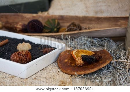 View of delicious dried orange and others dried fruits