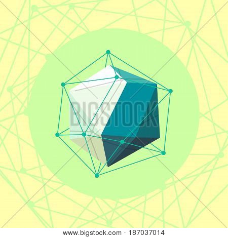 low poly Abstract polygonal geometric shape on yellow . Vector illustration.