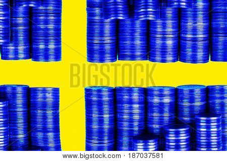 swedish money flag constructed from stacks of coins