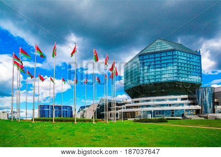 Belarus Minsk - May 11 2017: National Library of Belarus panoramic view of the building - the main universal scientific library a symbol of Belarusian culture and science editorial