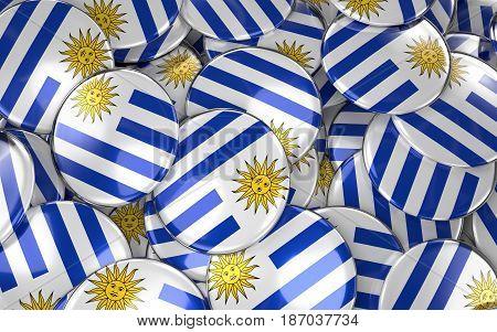 Uruguay Badges Background - Pile Of Uruguayan Flag Buttons.
