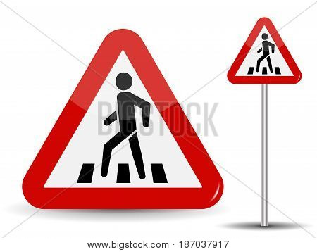 Road sign Warning. In Red Triangle man at pedestrian crossing. Vector Illustration. EPS10