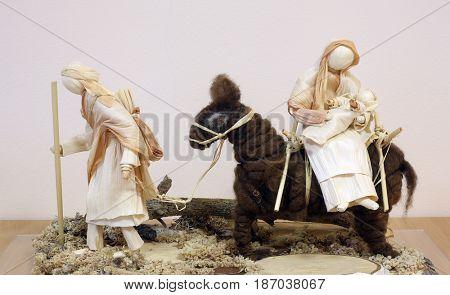 ZAGREB, CROATIA - JANUARY 08: Flight to Egypt work of Samuela Premuzic, exhibition of mangers in Zagreb, Croatia on January 08, 2016