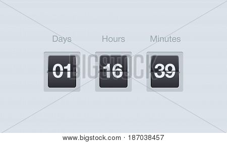 Vector flip countdown timer. Clock counter for websites and interfaces. Days, hours and minutes